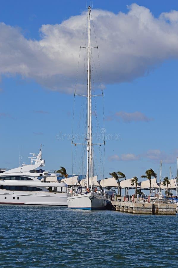 En högväxt mast på en seglingyacht royaltyfri bild