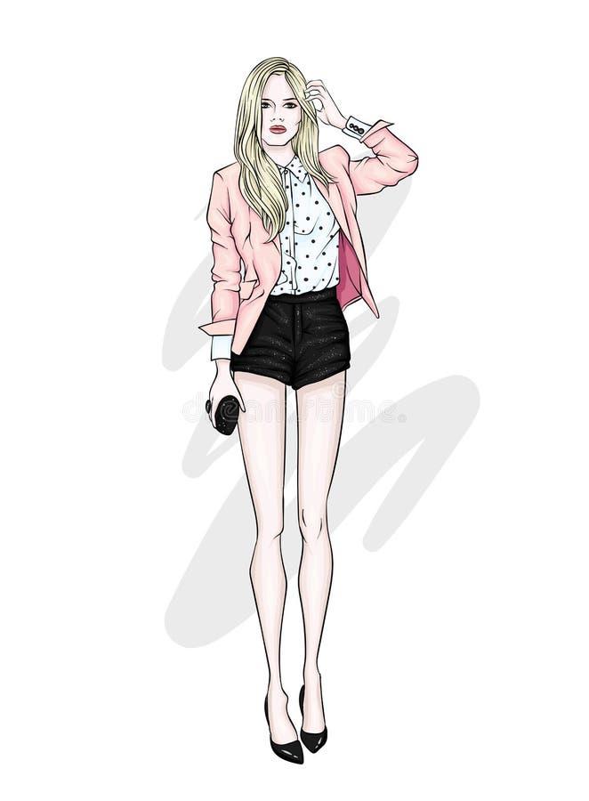 En högväxt spenslig flicka i korta kortslutningar, ett omslag och hög-heeled skor Härlig modell i stilfull kläder royaltyfri illustrationer