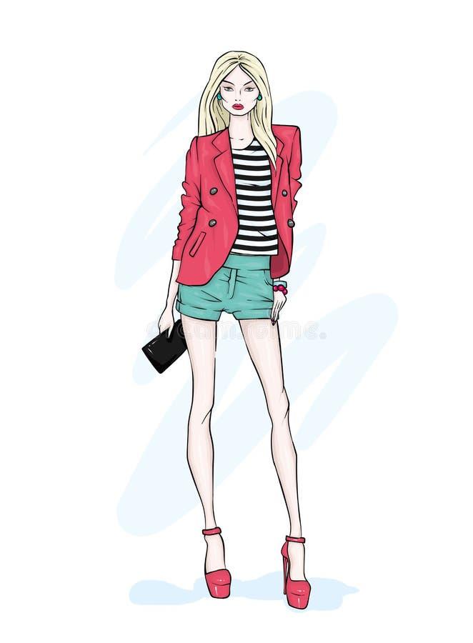 En högväxt spenslig flicka i kortslutningar, ett omslag och hög-heeled skor lagd benen på ryggen lång modell Mode, stil, kläder o royaltyfri illustrationer