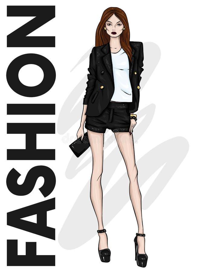 En högväxt spenslig flicka i kortslutningar, ett omslag och hög-heeled skor lagd benen på ryggen lång modell Mode, stil, kläder o stock illustrationer