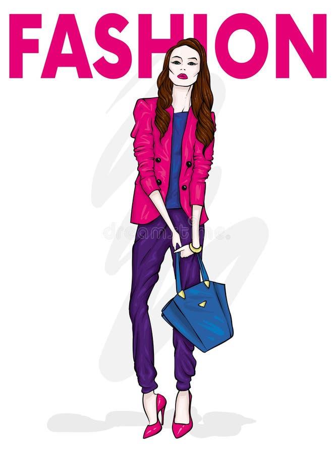 En högväxt spenslig flicka med långt hår i ett stilfullt omslag, en byxa och hög-heeled skor Mode & stil royaltyfri illustrationer