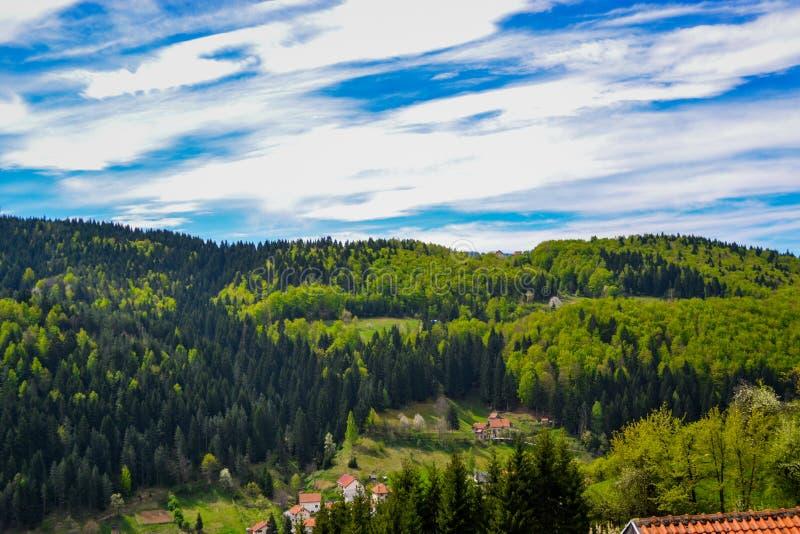 En h?rlig sikt av naturlig sk?nhet En sikt av ett berg Zlatar H?rlig bl? himmel och moln i bakgrunden royaltyfri fotografi