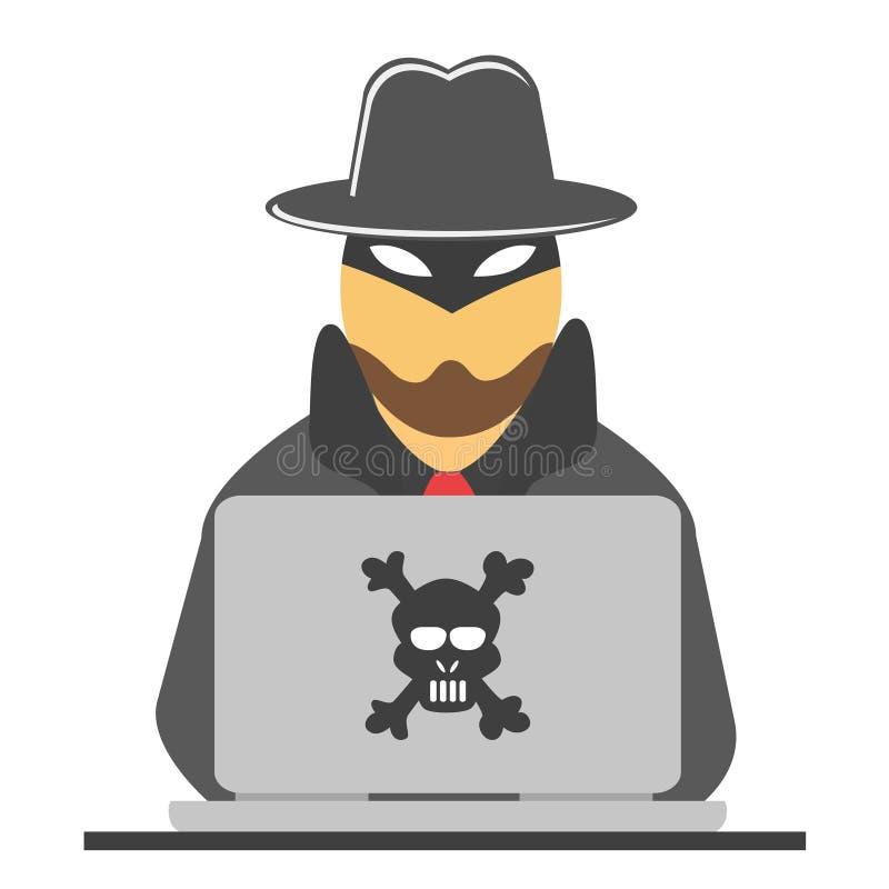 En hacker royaltyfri illustrationer