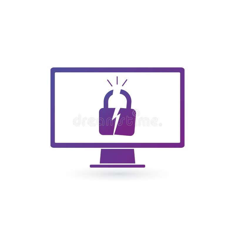 En hacker anföll datoren Plan vektorillustration av PCbildskärmen och det spruckna låset Brutet skydd, cyberbrott och rengöringsd vektor illustrationer