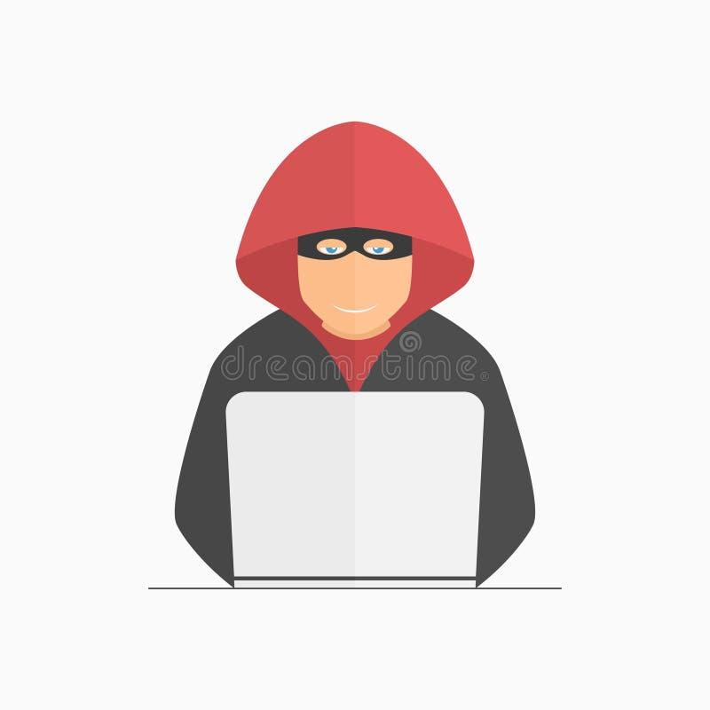 En hacker, brottsling i maskering och huv med bärbara datorn royaltyfri illustrationer