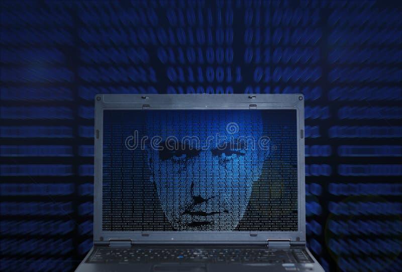 En hacker för binär kod stock illustrationer