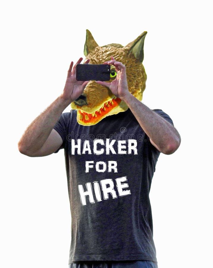 En hacker för för stor dålig svindel för fara för plåga varginternet för hyra online-fejkar den falska vännen som rengöringsduken arkivfoton