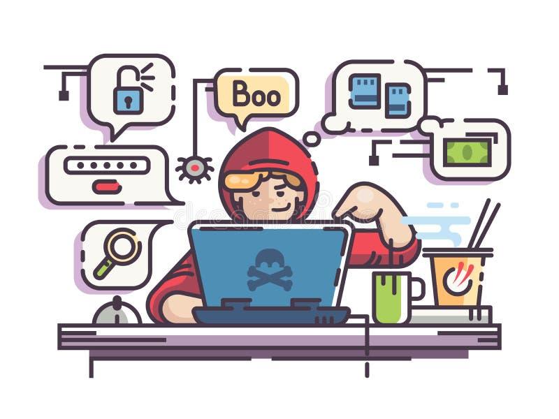 En hacker för ung man med bärbara datorn vektor illustrationer