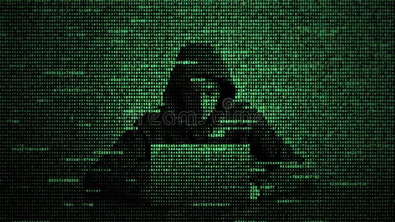 En hacker i begrepp f?r datas?kerhet anv?nda f?r sk?rm f?r lott f?r b?rbar dator f?r datorsiffrahacker Hacka internet Cyberattack royaltyfri illustrationer