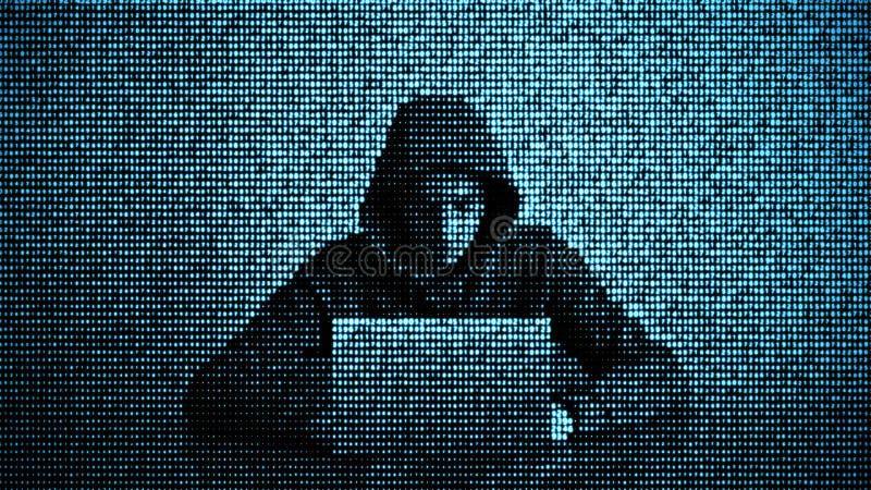 En hacker i begrepp f?r datas?kerhet anv?nda f?r sk?rm f?r lott f?r b?rbar dator f?r datorsiffrahacker Hacka internet Cyberattack royaltyfri foto