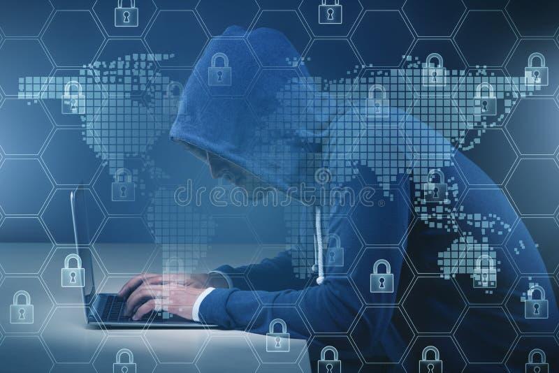 En hacker i digitalt s?kerhetsbegrepp fotografering för bildbyråer