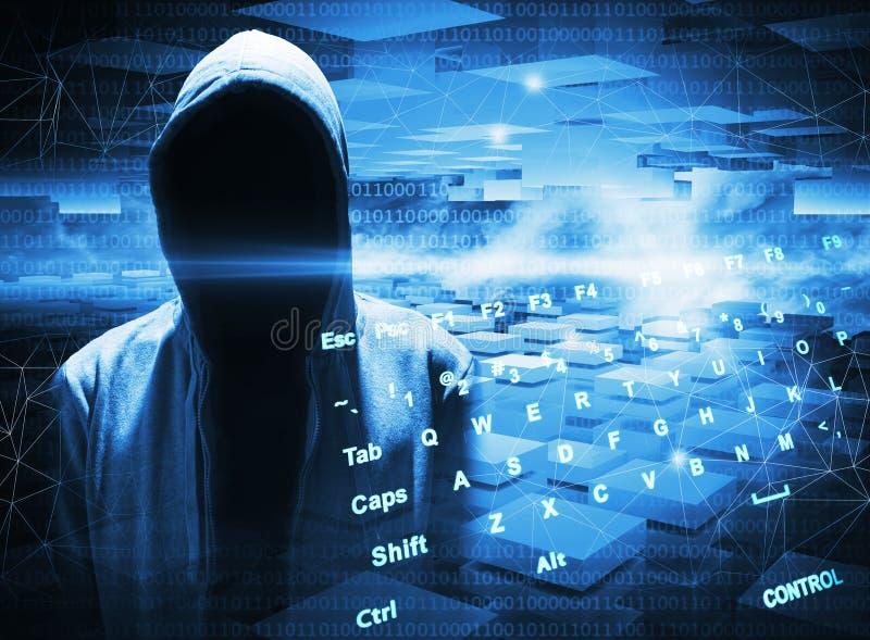 En hacker i en huv på mörker - blå bakgrund stock illustrationer