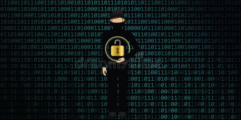 En hacker knäcker säker anslutning för digitala data vektor illustrationer