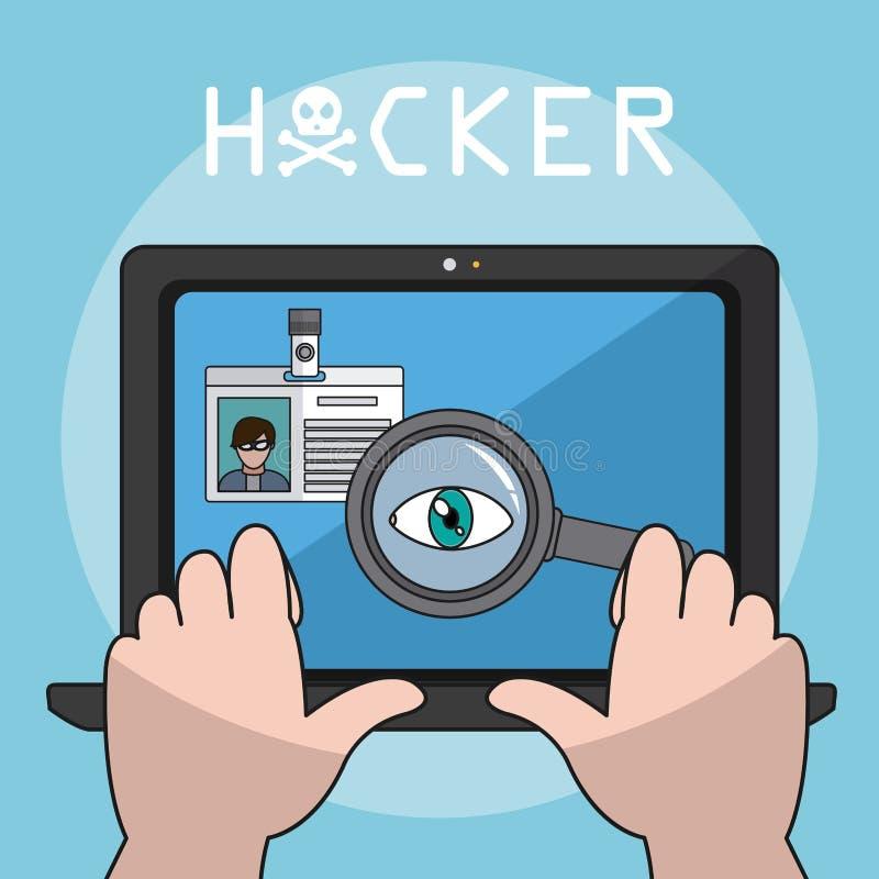 En hacker och cybersäkerhet vektor illustrationer