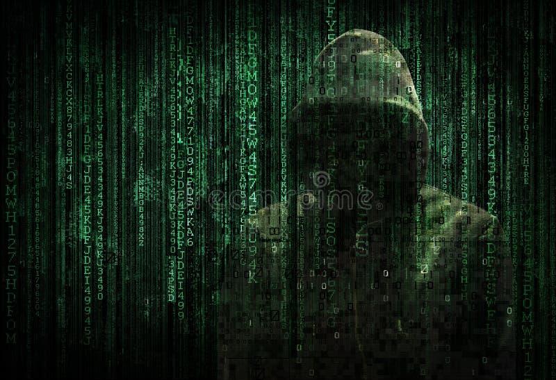 En hacker och kod royaltyfri illustrationer