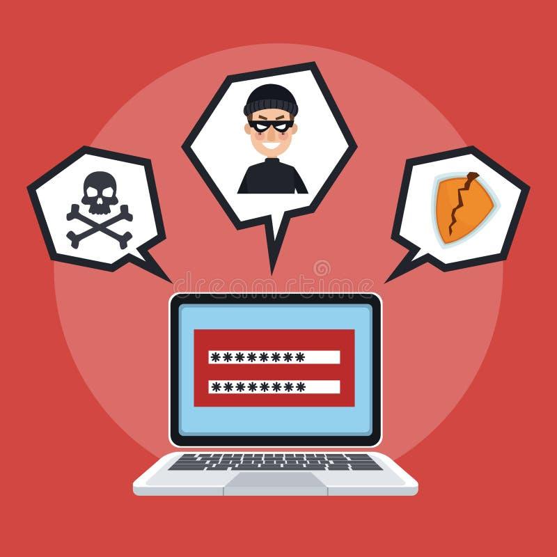 En hacker och säkerhetssystem stock illustrationer