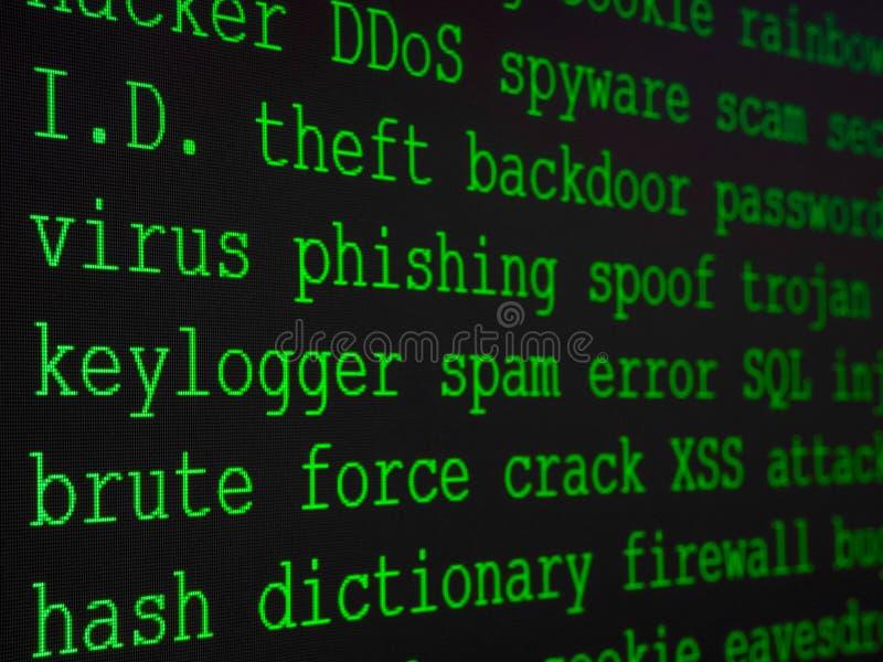 En hacker ordbok visade på datorskärmen royaltyfri bild