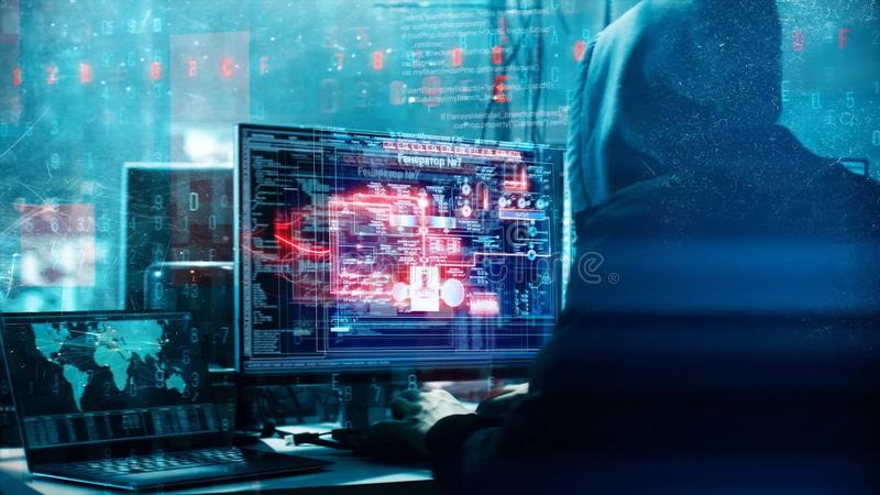 En hacker som programmerar i teknologimiljö med cybersymboler och symboler Abstrakt animering med oigenkännligt med huva stock illustrationer