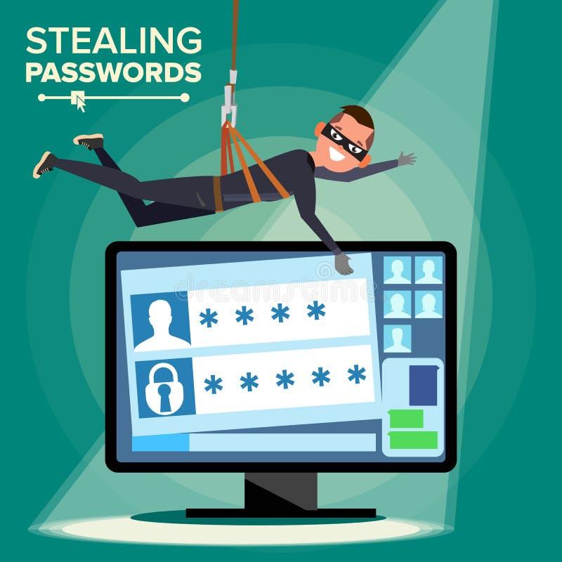En hacker som stjäler lösenordvektorn Tjuv Character Personlig information om spricka från datoren Fiska attack Rengöringsdukviru royaltyfri illustrationer