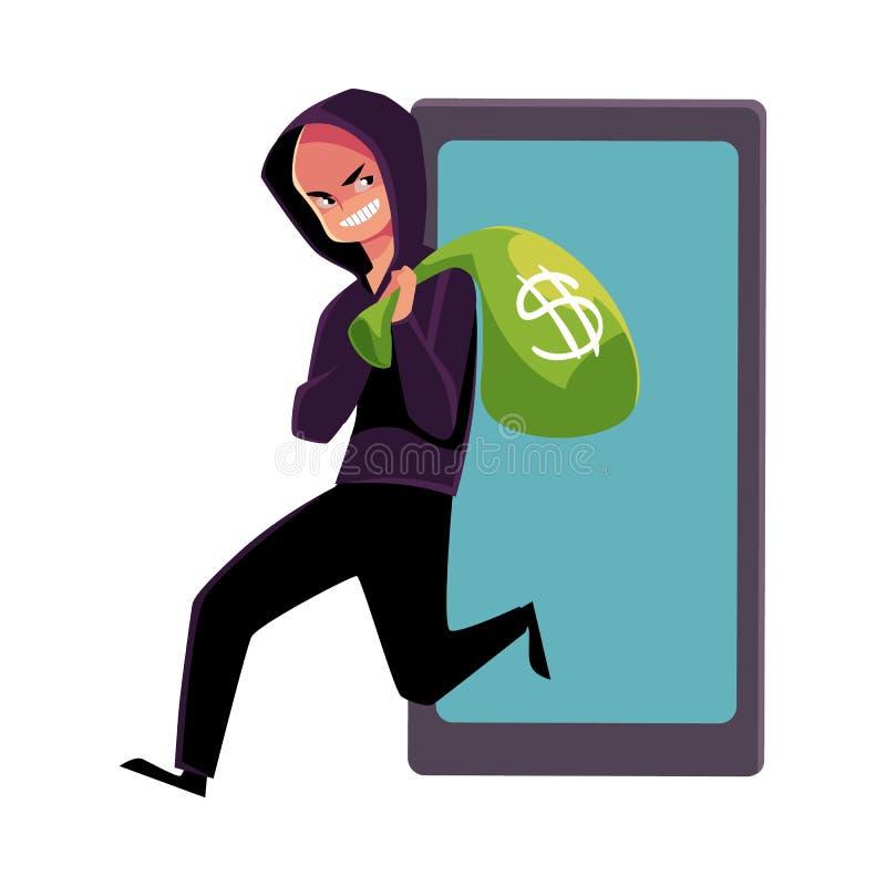 En hacker som stjäler pengar, cybercrime, internetbedrägeri, online-svindel royaltyfri illustrationer
