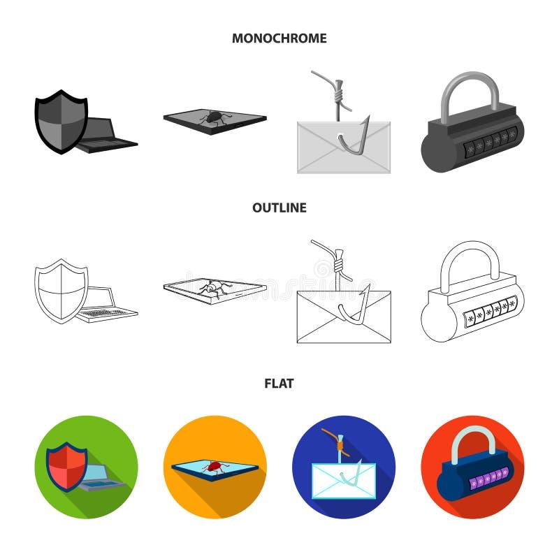En hacker system, anslutning En hacker och fastställda samlingssymboler för dataintrång i lägenheten, översikt, monokromt stilvek vektor illustrationer