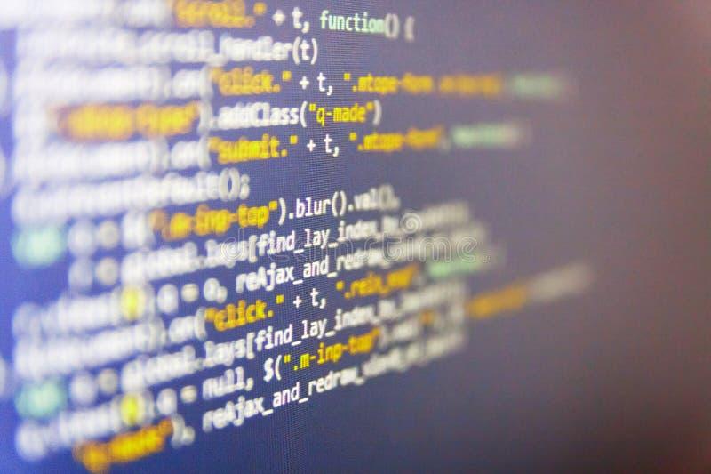 En hackerapi-text på datorskärmen Bildskärmfoto för skrivbords- PC Website som programmerar kod arkivfoton