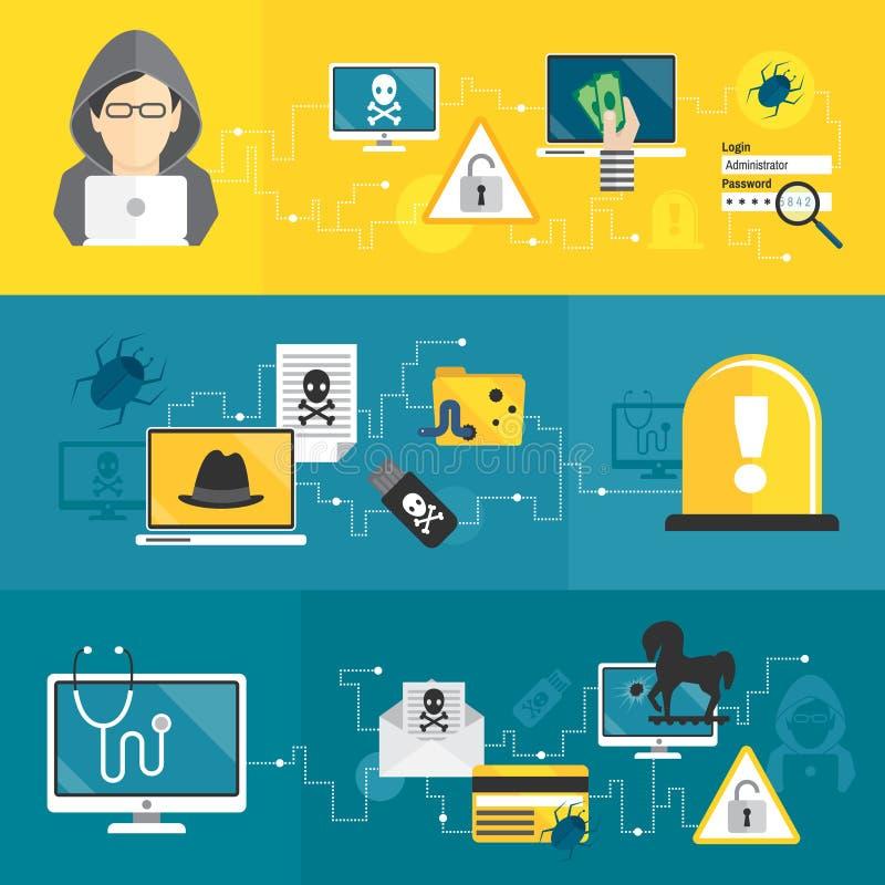 En hackerbaneruppsättning royaltyfri illustrationer