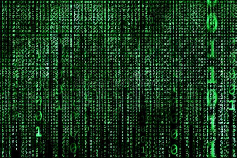 En hackerbegrepp dator för binära koder grön text arkivbilder