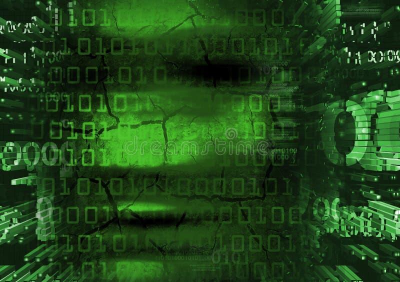 En hackerframsida på grön bakgrund för binära koder vektor illustrationer