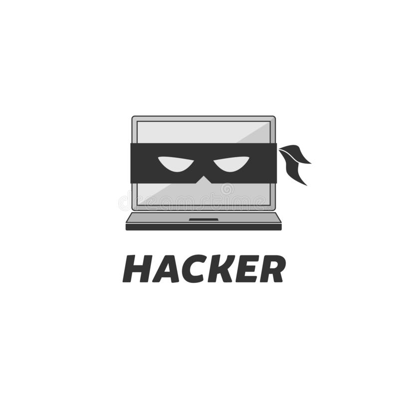En hackerlogodesign stock illustrationer