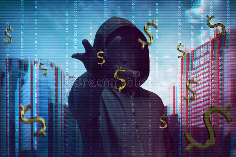 En hackerman som bär den anonyma maskeringen som stjäler pengar royaltyfri fotografi