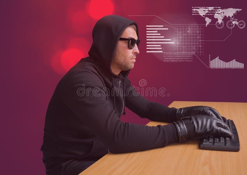 En hackermaskinskrivning på ett tangentbord framme av röd bakgrund stock illustrationer