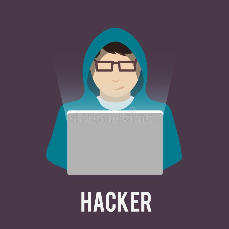 En hackersymboler sänker stock illustrationer
