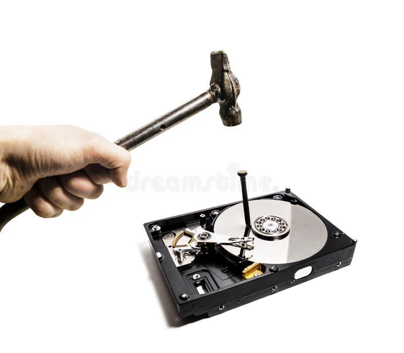 En hammare slår en spika in i hårddisken från datoren royaltyfri foto