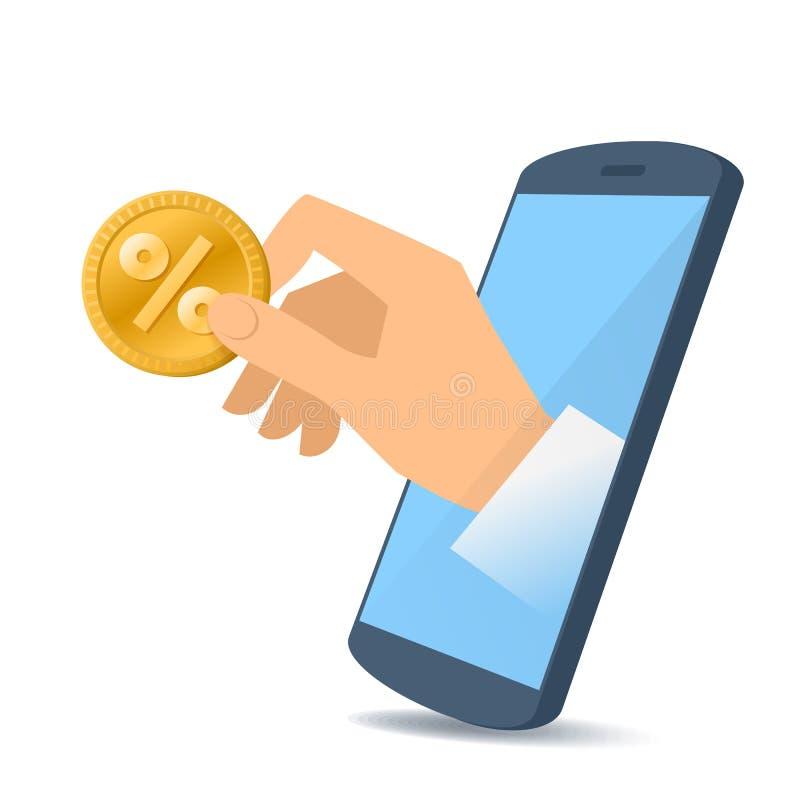 En hand från mobiltelefonskärmen rymmer procentmyntet stock illustrationer