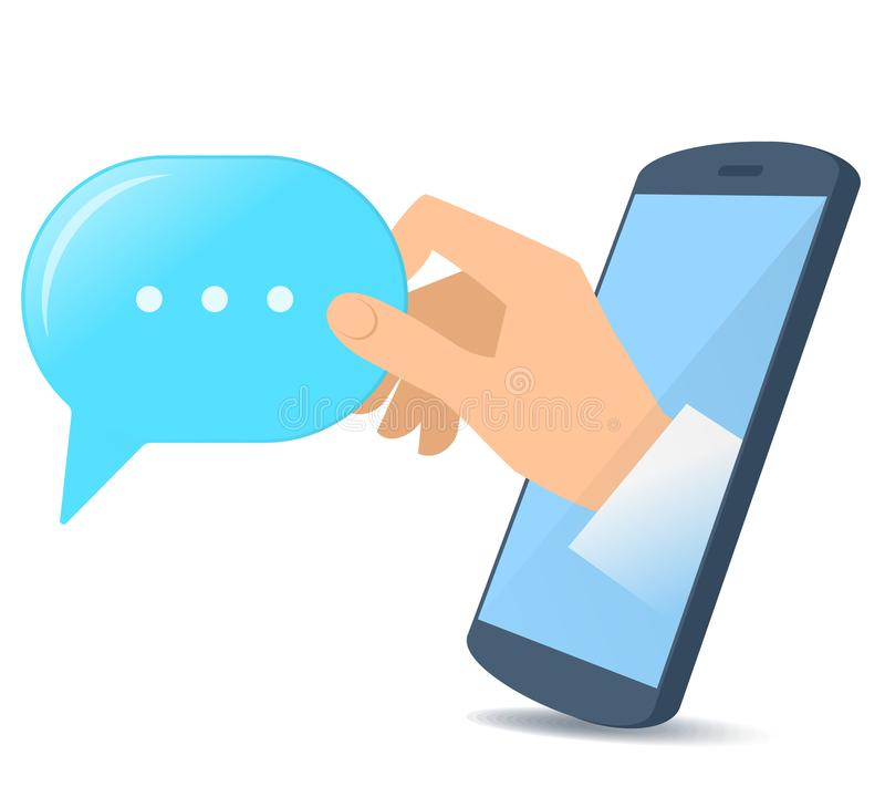 En hand från skärmen för telefon` s rymmer en anförandebubbla royaltyfri illustrationer