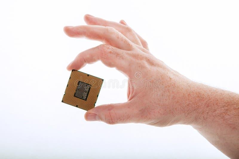 En hand med CPUen royaltyfria foton