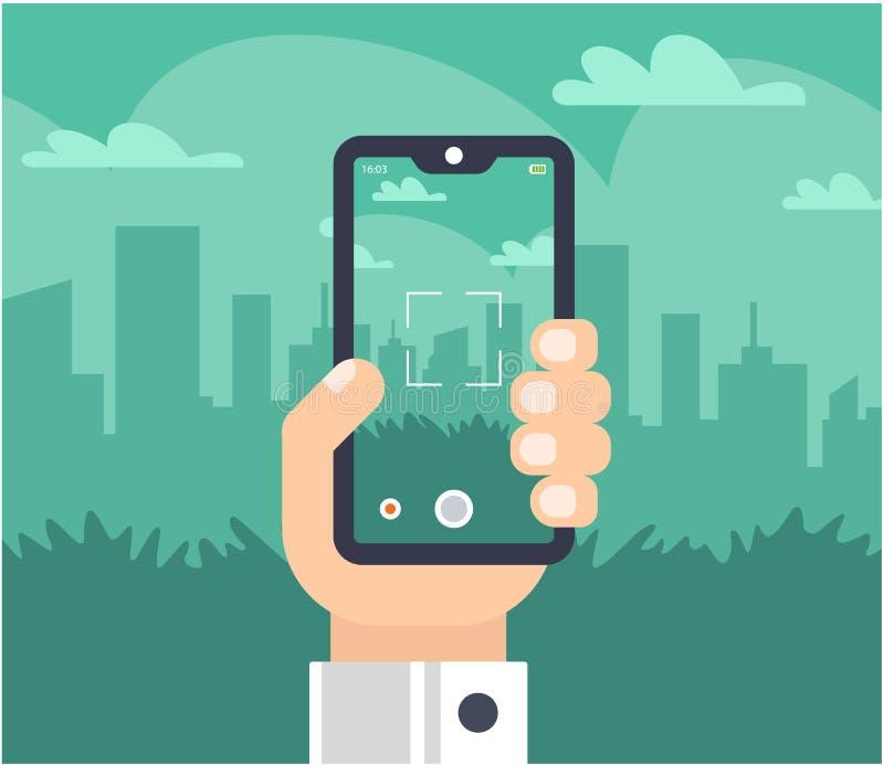 En hand med en telefon tar bilder av staden royaltyfri illustrationer