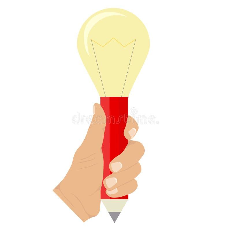 En hand rymmer en blyertspenna med en ljus kula Begreppet av en idérik idé stock illustrationer