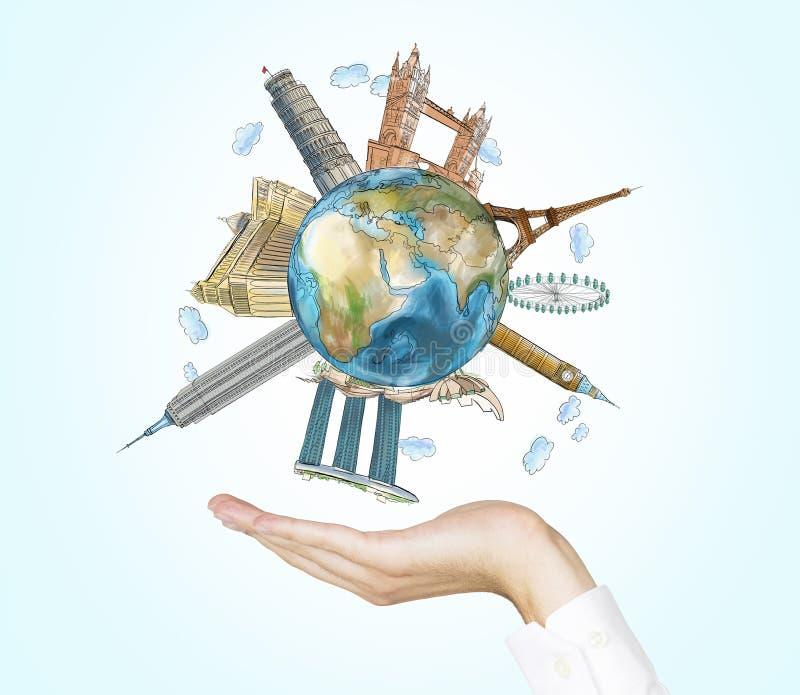 En hand rymmer ett jordklot med skissade de mest berömda ställena i världen Ett begrepp av turism och sighten Ljus - blå backgrou vektor illustrationer