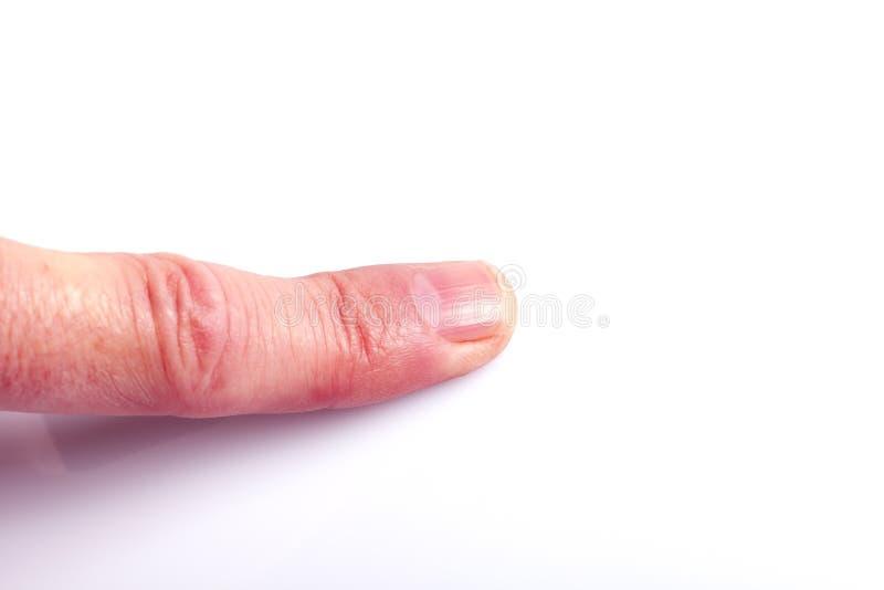 En hand som pekar med det isolerade pekfingret royaltyfri fotografi