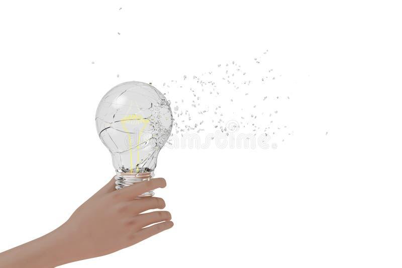 En hand som rymmer en exploderande ljus kula, tolkning 3D royaltyfri illustrationer
