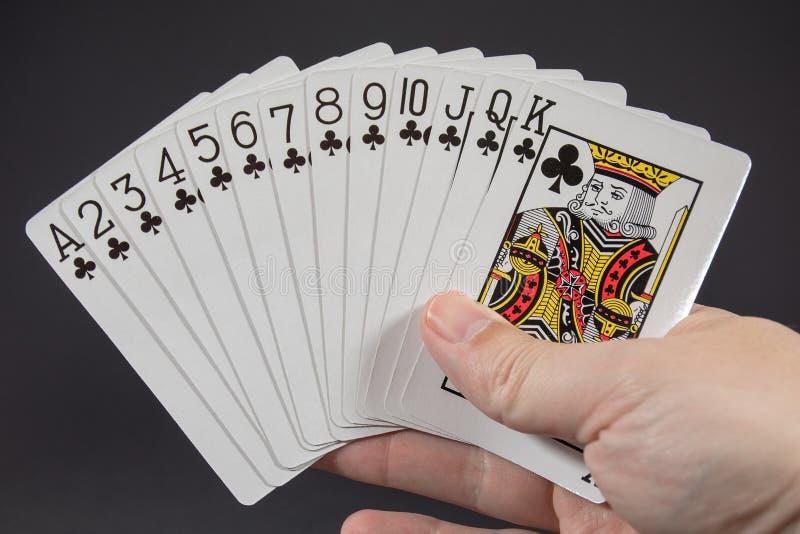 En hand som rymmer följet av klubbor från att spela kort arkivfoto