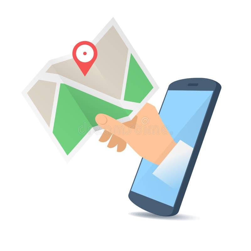 En hand till och med skärmen för telefon` s rymmer en navigeringöversikt royaltyfri illustrationer