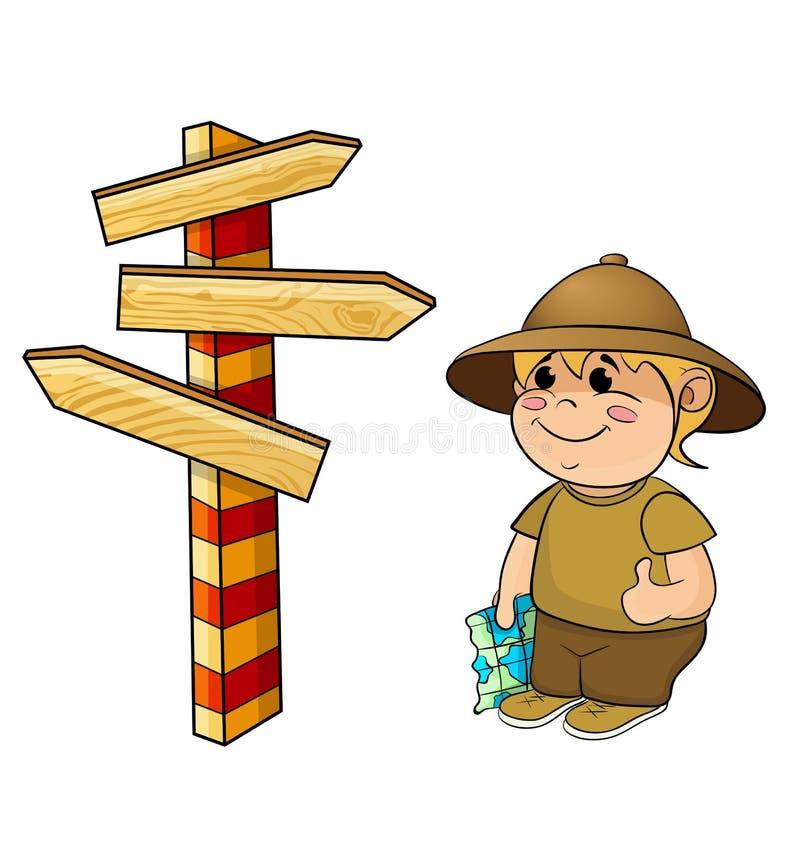 En handelsresande med en översikt och en teckenstolpe stock illustrationer