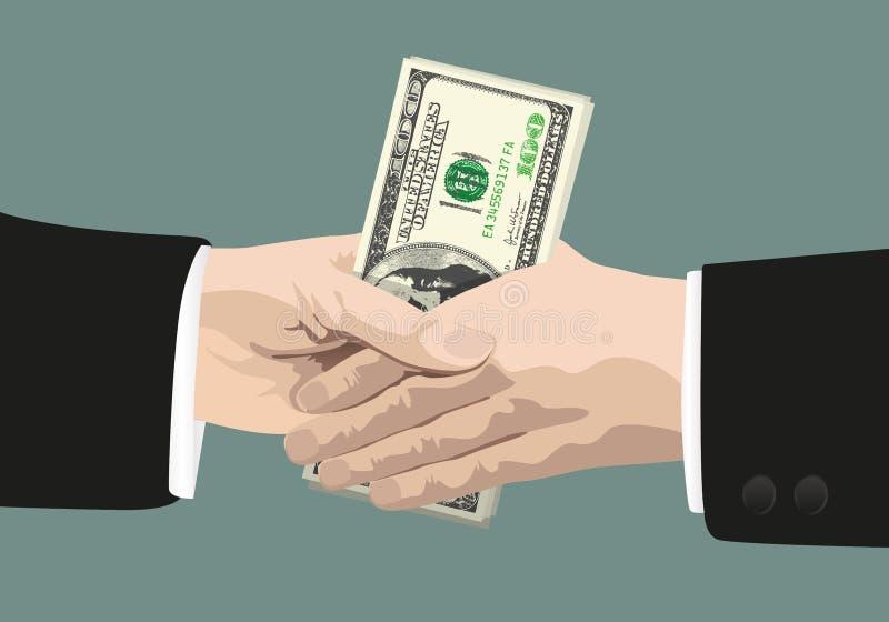 En handskakning som visar korruptionen av aff?rsm?n av maffian stock illustrationer