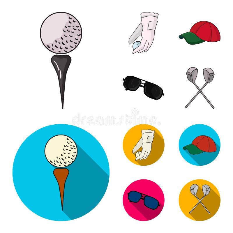 En handske för att spela golf med en boll, ett rött lock, solglasögon, två klubbor Fastställda samlingssymboler för golfklubb i t vektor illustrationer