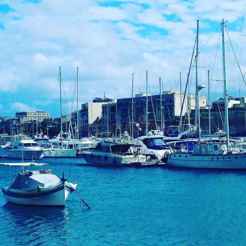 En havssikt i Malta arkivfoto