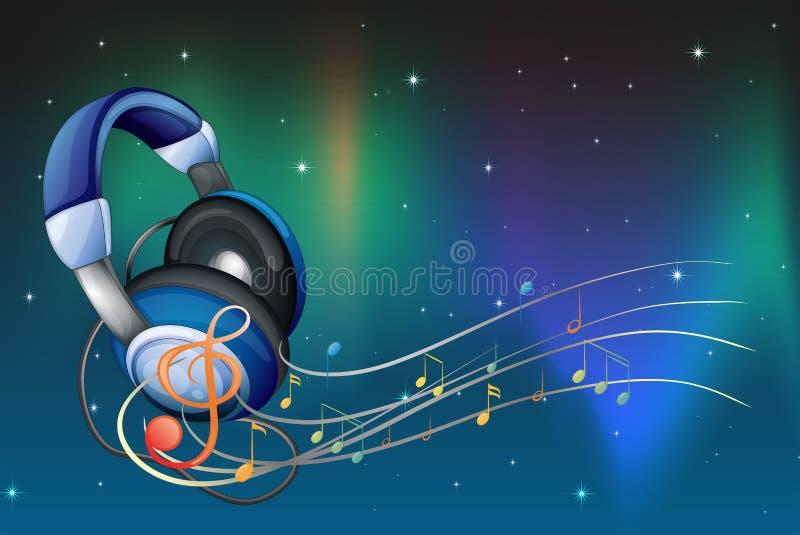 En headphone med musikaliska anmärkningar stock illustrationer