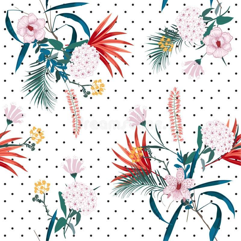 In en heldere tropische wildernis en bloeiende bloemenmengeling met royalty-vrije illustratie